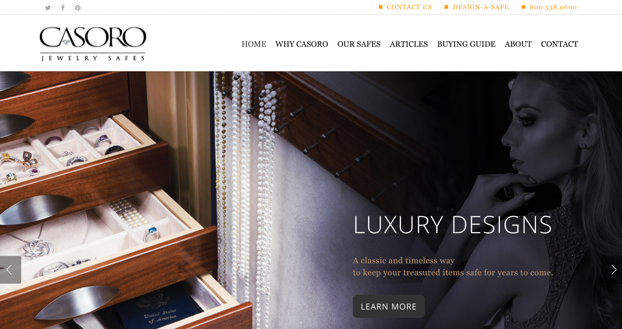 Casoro Jewelry Safes website