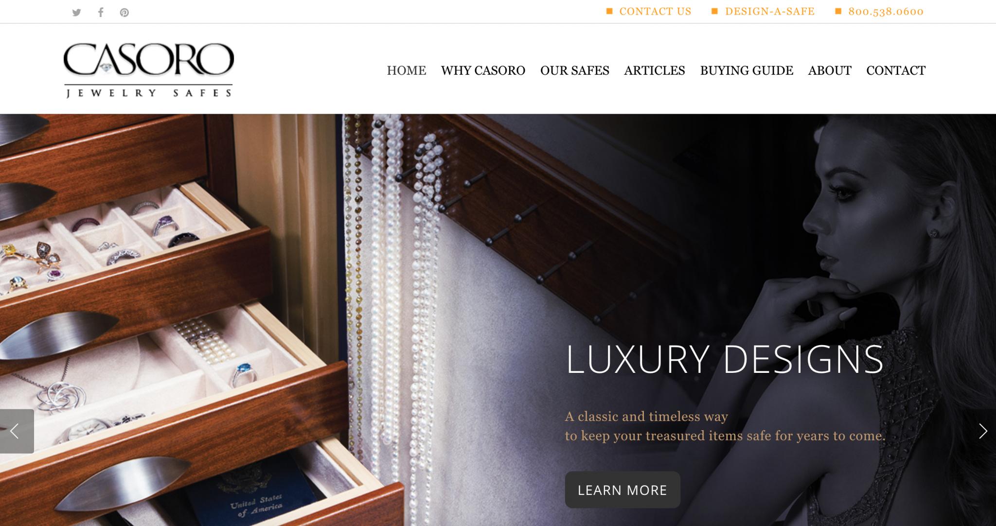 Casoro Jewelry Safes website
